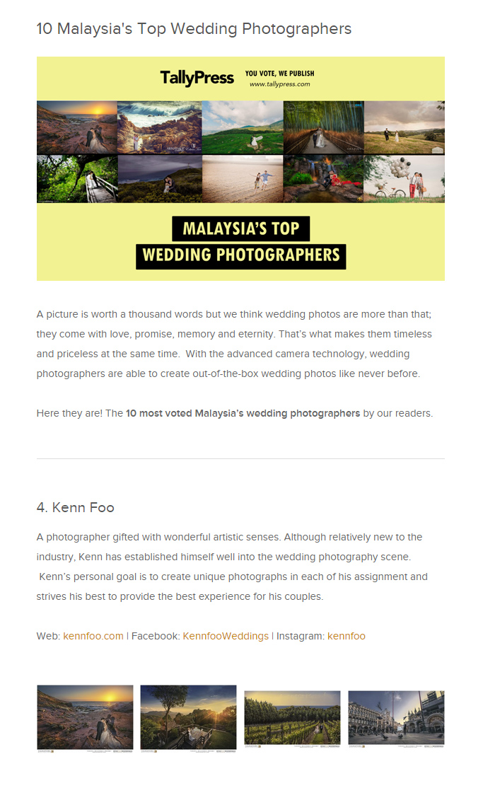 We Are Voted As Malaysias Top  Wedding Photographer